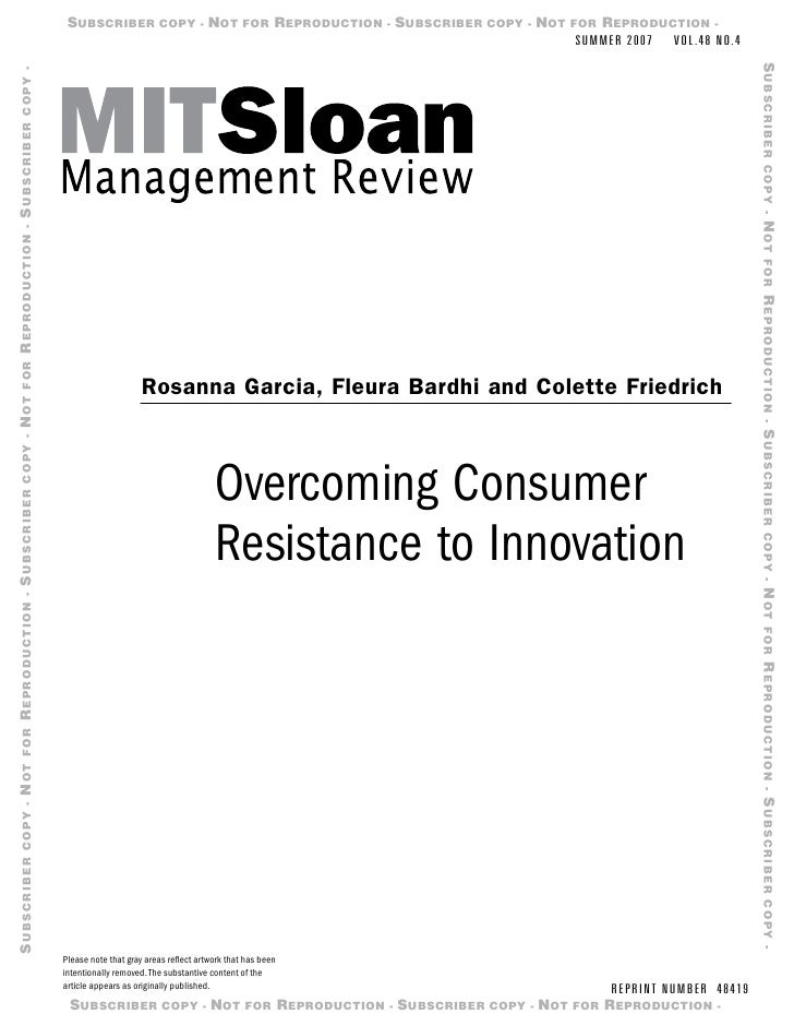 Consumer Resistance To Innovation