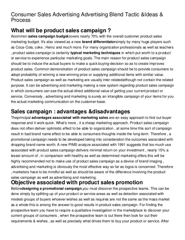 Consumer Sales Advertising Advertising Blend Tactic &Ideas &ProcessWhat will be product sales campaign ?Acommon sales camp...