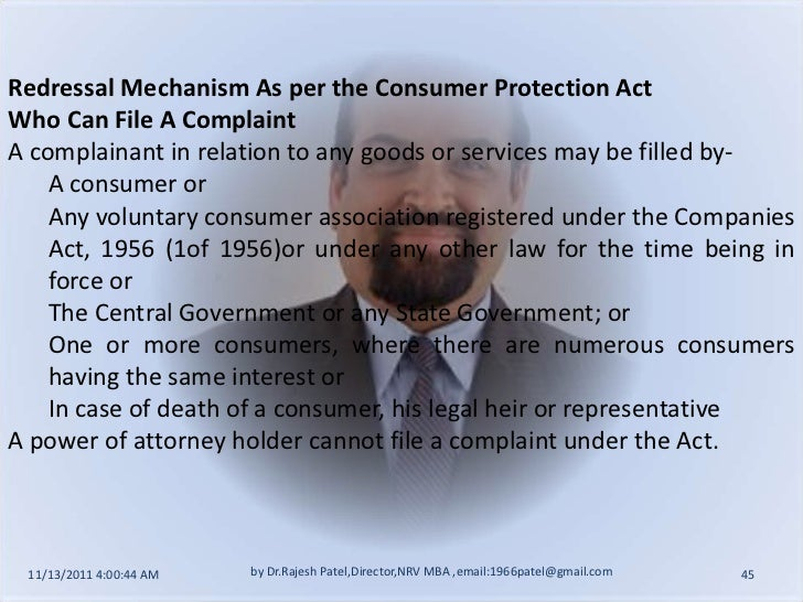 case of complaining consumers