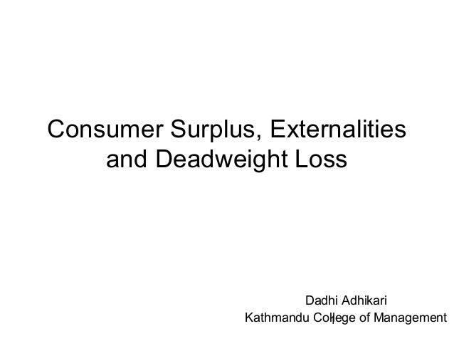 1 Consumer Surplus, Externalities and Deadweight Loss Dadhi Adhikari Kathmandu College of Management