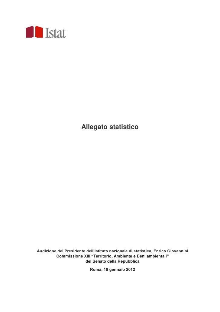 ISTAT - Le problematiche connesse al consumo del suolo Allegato statistico