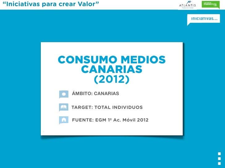 """""""Iniciativas para crear Valor""""                 CONSUMO MEDIOS                    CANARIAS                      (2012)     ..."""