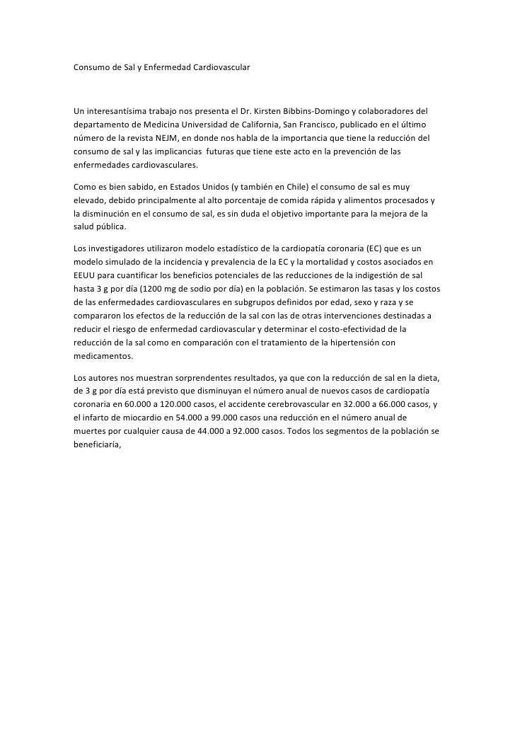 Consumo de Sal y Enfermedad Cardiovascular<br />Un interesantísima trabajo nos presenta el Dr. Kirsten Bibbins-Domingo y c...