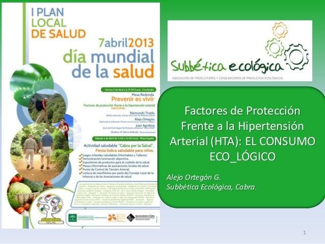 Factores de Protección  Frente a la HipertensiónArterial (HTA): EL CONSUMO        ECO_LÓGICOAlejo Ortegón G.Subbética Ecol...