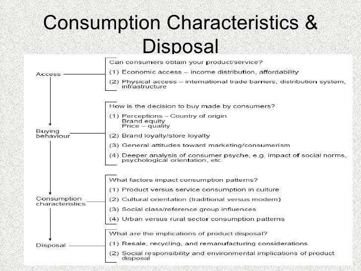 Consumption Characteristics & Disposal