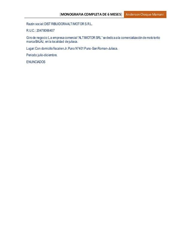 [MONOGRAFIA COMPLETA DE 6 MESES] AndersonChoque Mamani Razón social:DISTRIBUIDORAALTIMOTORS.R.L. R.U.C.: 20478066407 Girod...