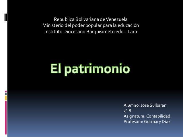 Republica Bolivariana deVenezuela Ministerio del poder popular para la educación Instituto Diocesano Barquisimeto edo.- La...
