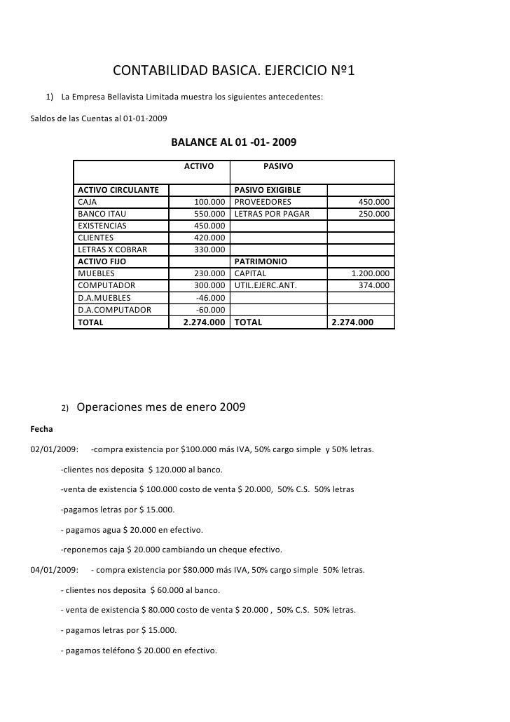 CONTABILIDAD BASICA. EJERCICIO Nº1    1) La Empresa Bellavista Limitada muestra los siguientes antecedentes:  Saldos de la...
