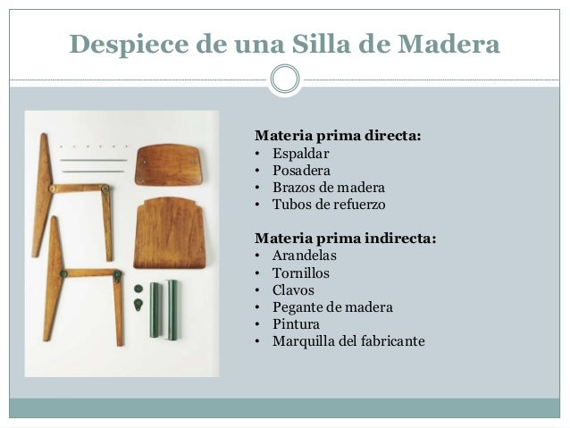 Contabilidaddecostos hacer 1 silla - Materiales para tapizar una silla ...