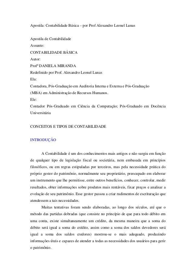 Apostila: Contabilidade Básica – por Prof Alexandro Leonel Lunas  Apostila de Contabilidade Assunto: CONTABILIDADE BÁSICA ...