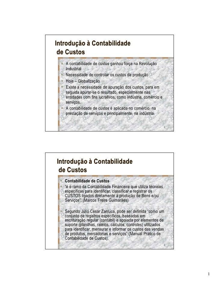 Contabilidade custos introducao a contabilidade de custos