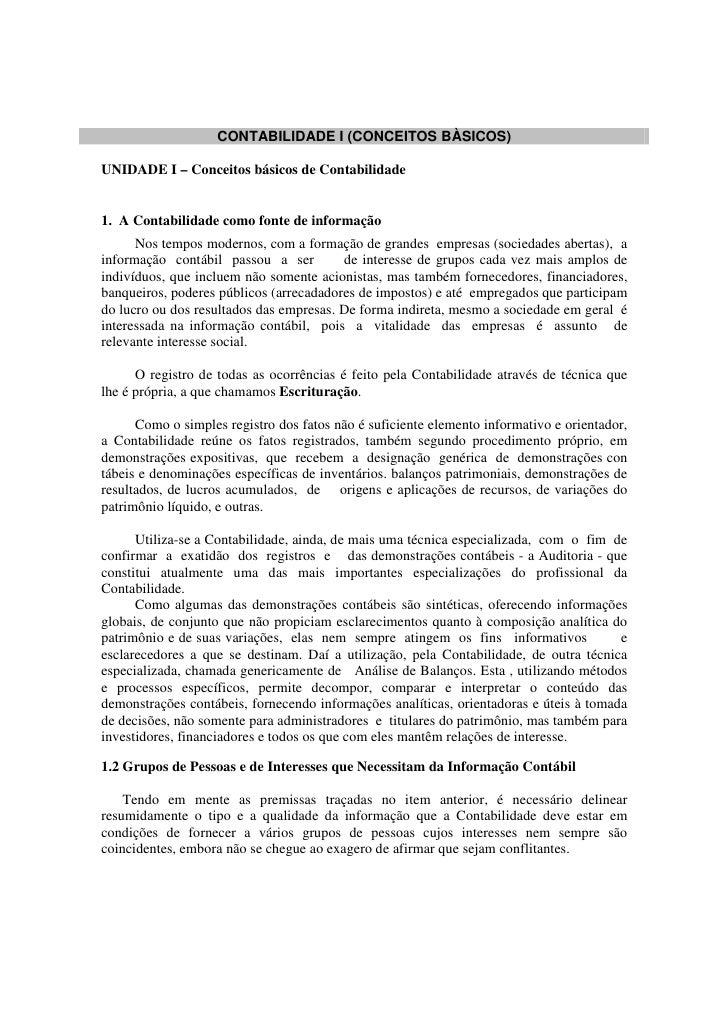 Contabilidade i   01 - unidade i – conceitos básicos de contabilidade