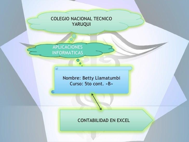 COLEGIO NACIONAL TECNICO        YARUQUIAPLICACIONESINFORMATICAS    Nombre: Betty Llamatumbi      Curso: 5to cont. «B»     ...