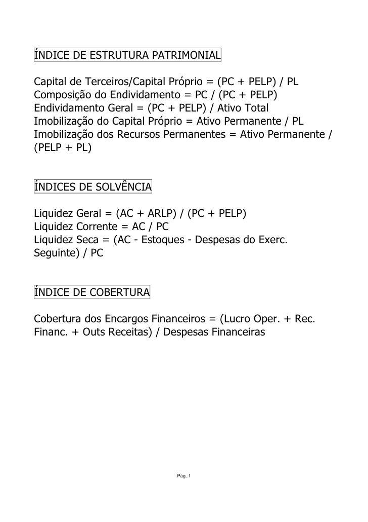 ÍNDICE DE ESTRUTURA PATRIMONIAL  Capital de Terceiros/Capital Próprio = (PC + PELP) / PL Composição do Endividamento = PC ...