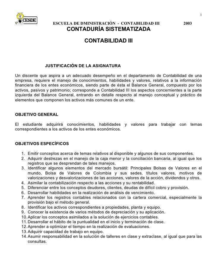 1                      ESCUELA DE DMINISTRACIÓN - CONTABILIDAD III                            2003                        ...
