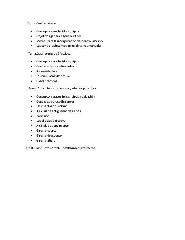 I Tema.Control Interno.  Concepto,características,tipos  Objetivosgeneralesyespecíficos.  Mediospara la incorporaciónde...