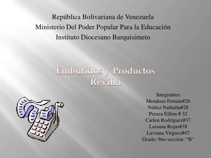 República Bolivariana de VenezuelaMinisterio Del Poder Popular Para la Educación       Instituto Diocesano Barquisimeto   ...