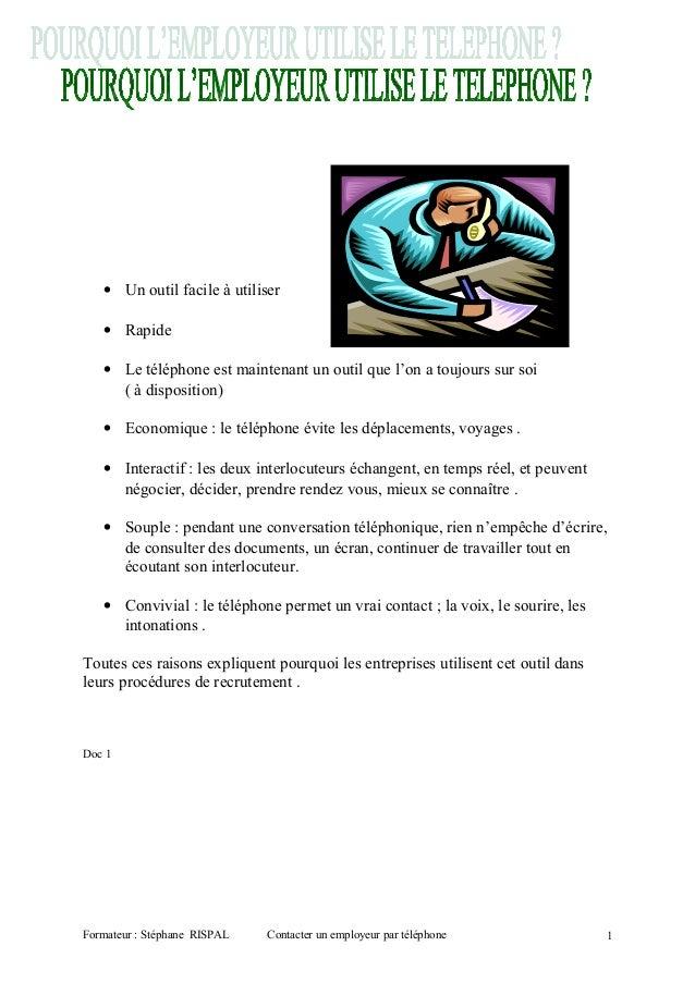 Contacter un employeur par téléphone