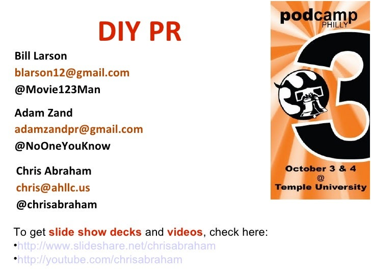 <ul><li>To get  slide show decks  and  videos , check here: </li></ul><ul><li>http://www.slideshare.net/chrisabraham </li>...