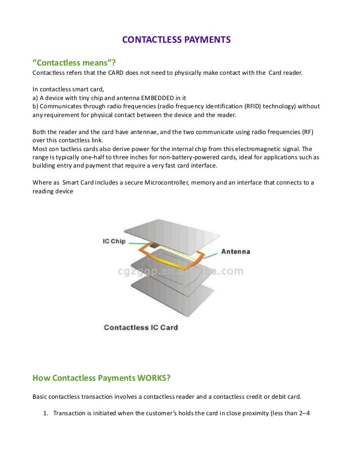 "CONTACTLESS PAYMENTS""Contactless means""?Contactless refers that the CARD does not need to physically make contact with the..."