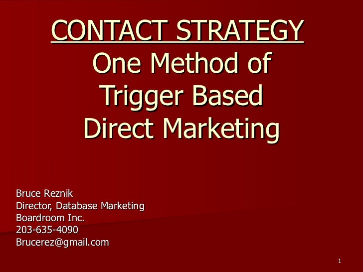 Contact Strategy Presentation 2012