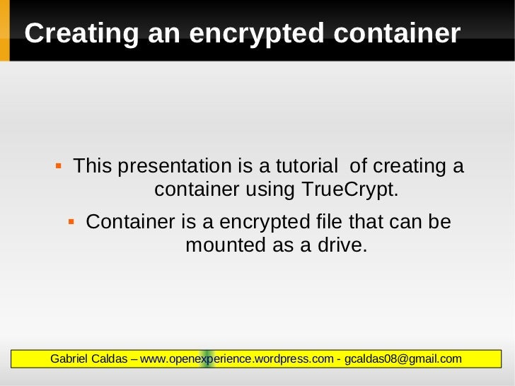 Creating an encrypted container at TrueCrypt