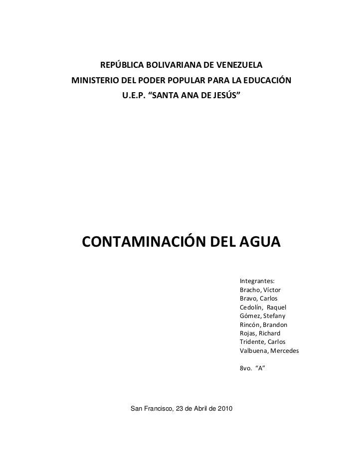 """REPÚBLICA BOLIVARIANA DE VENEZUELA<br />MINISTERIO DEL PODER POPULAR PARA LA EDUCACIÓN<br />U.E.P. """"SANTA ANA DE JESÚS""""<br..."""
