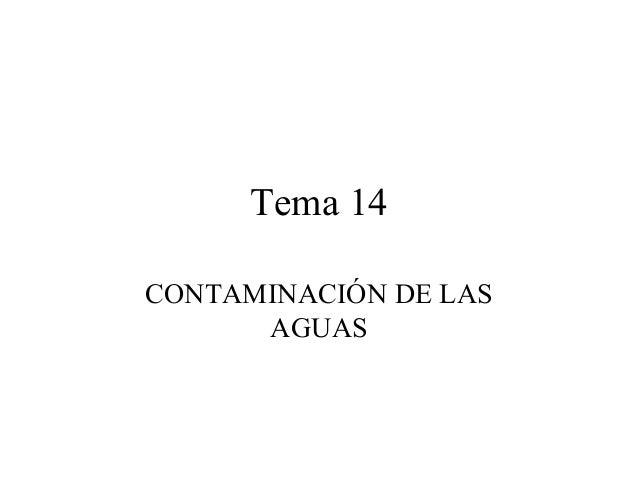 Tema 14 CONTAMINACIÓN DE LAS AGUAS