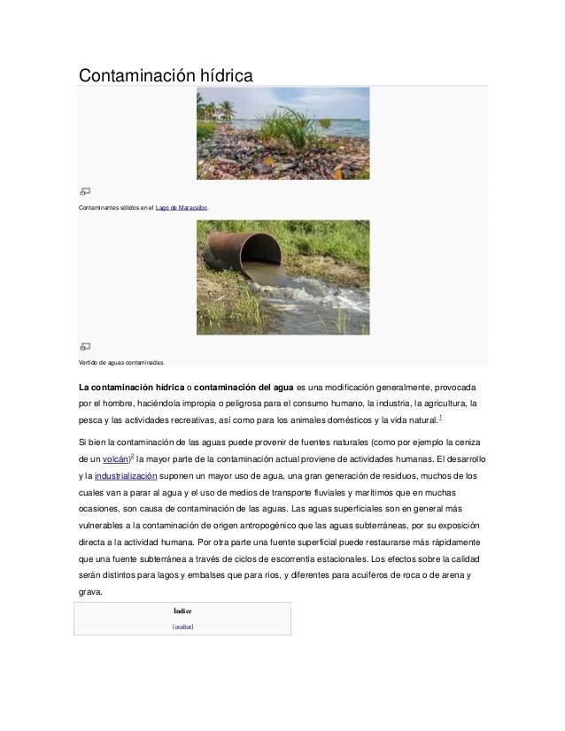 Contaminación hídricaContaminantes sólidos en el Lago de Maracaibo.Vertido de aguas contaminadas.La contaminación hídrica ...
