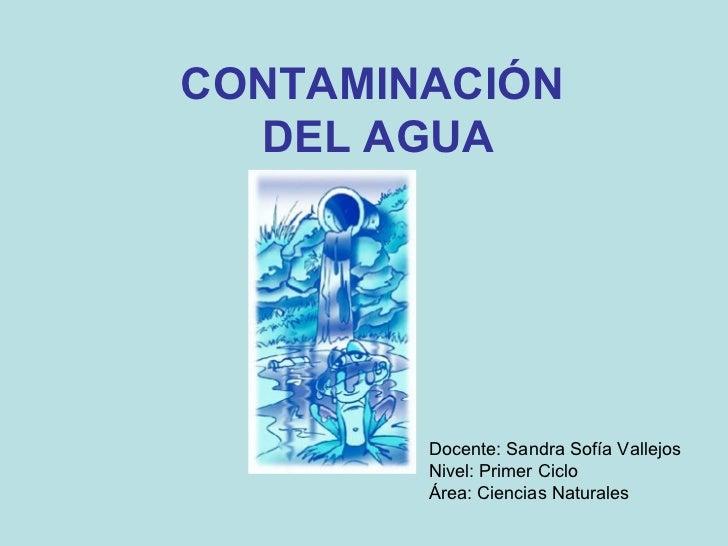 CONTAMINACIÓN  DEL AGUA Docente: Sandra Sofía Vallejos Nivel: Primer Ciclo  Área: Ciencias Naturales