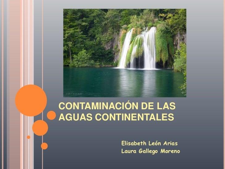 CONTAMINACIÓN DE LAS AGUAS CONTINENTALES<br />                          Elisabeth León Arias<br />                        ...