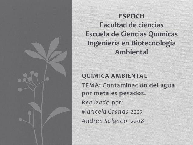 QUÍMICA AMBIENTALTEMA: Contaminación del aguapor metales pesados.Realizado por:Maricela Granda 2227Andrea Salgado 2208ESPO...