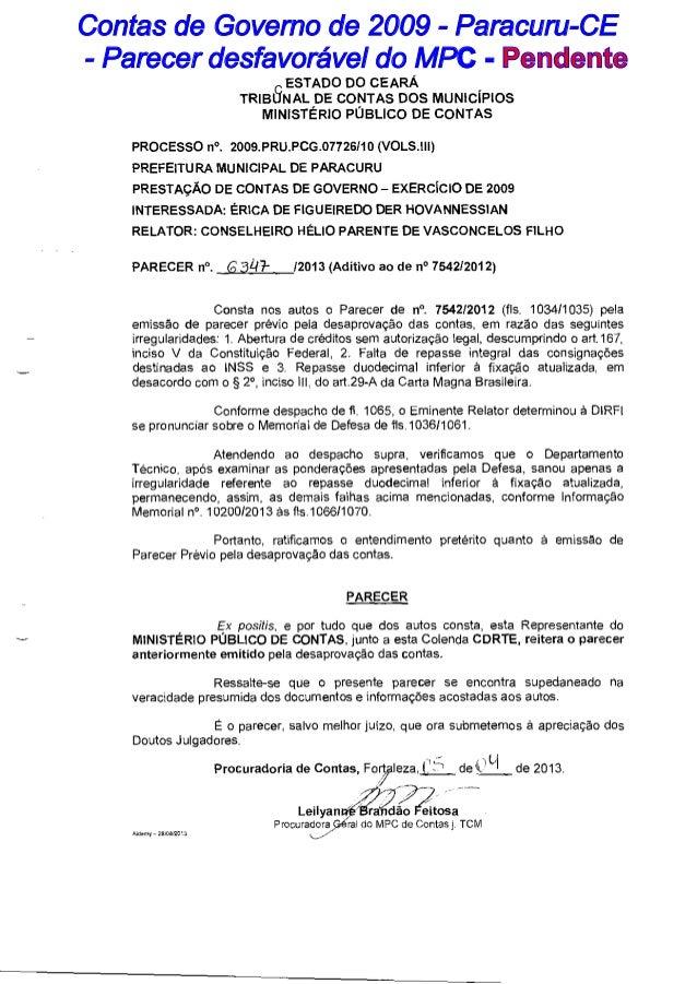 Contas de Governo de 2009 - Paracuru-CE - Parecer desfavor€vel do MPC - Pendente C ESTADO DO CEARÁ  TRIBUNAL DE CONTAS DOS...