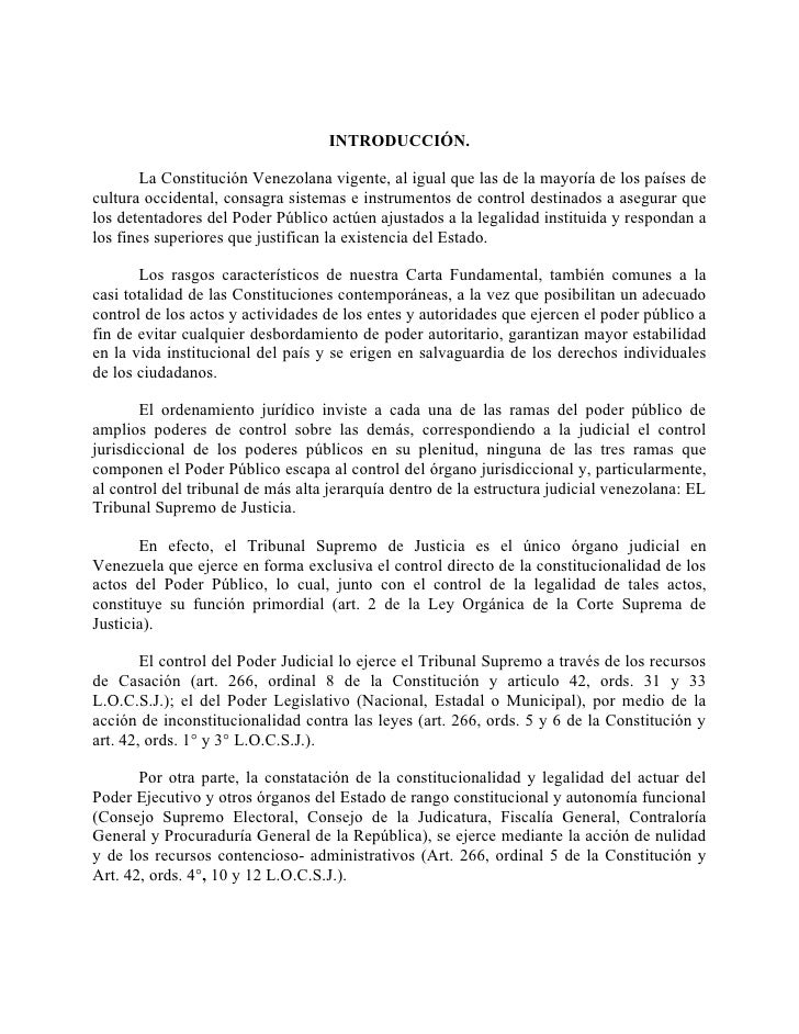 INTRODUCCIÓN.       La Constitución Venezolana vigente, al igual que las de la mayoría de los países decultura occidental,...