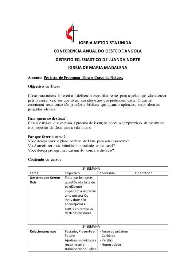 IGREJA METODISTA UNIDA CONFERENCIA ANUAL DO OESTE DE ANGOLA DISTRITO ECLESIASTICO DE LUANDA NORTE IGREJA DE MARIA MADALENA...