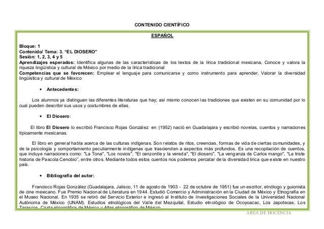 """CONTENIDO CIENTÍFICO ESPAÑOL Bloque: 1 Contenido/ Tema: 3. """"EL DIOSERO"""" Sesión: 1, 2, 3, 4 y 5 Aprendizajes esperados: Ide..."""