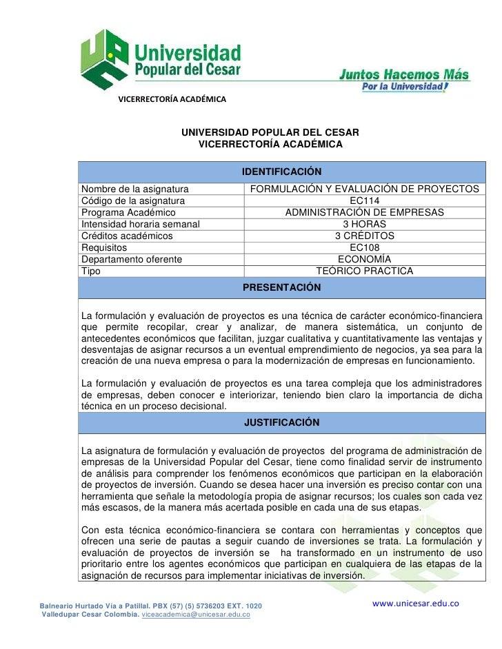 VICERRECTORÍA ACADÉMICA                                        UNIVERSIDAD POPULAR DEL CESAR                              ...