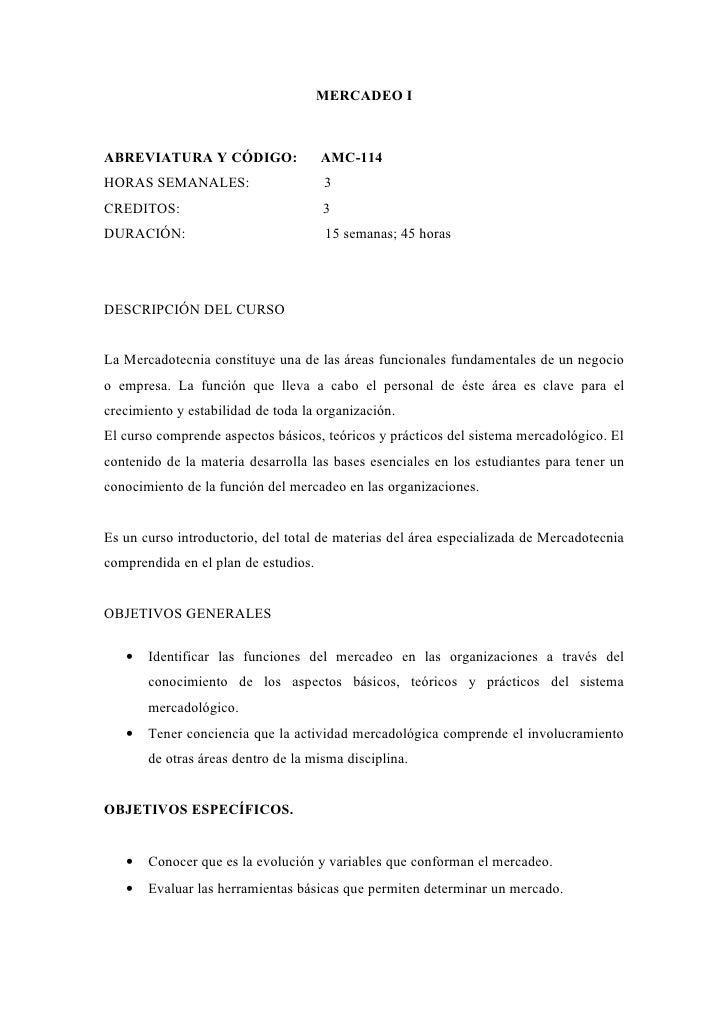 MERCADEO IABREVIATURA Y CÓDIGO:                 AMC-114HORAS SEMANALES:                      3CREDITOS:                   ...