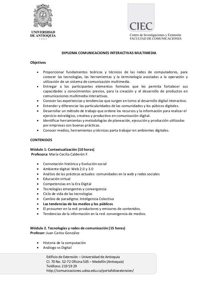 Contenido Diploma Comunicaciones Interactivas multimedia