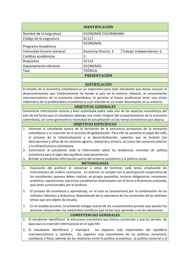 IDENTIFICACIÓNNombre de la asignatura                    ECONOMÍA COLOMBIANACódigo de la asignatura                    EC1...