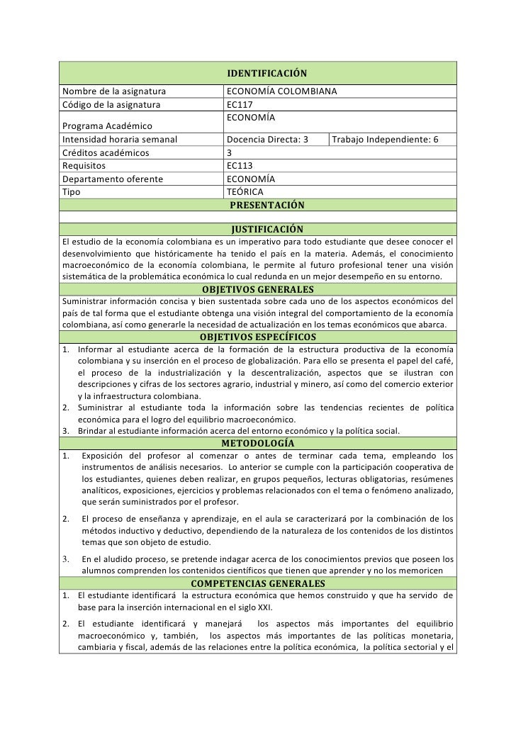 Contenido programático de economía colombiana