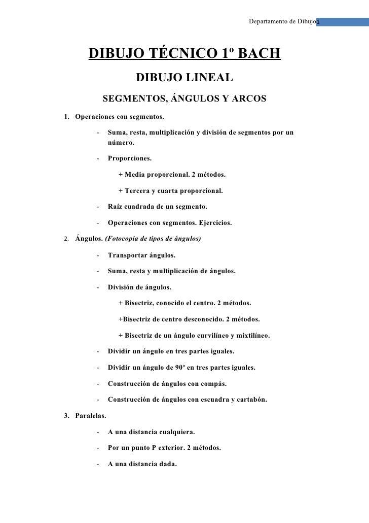 Departamento de Dibujo1            DIBUJO TÉCNICO 1º BACH                          DIBUJO LINEAL               SEGMENTOS, ...