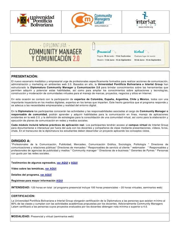 Community Manager contenidos de la Diplomatura de Bogotá y Medellín