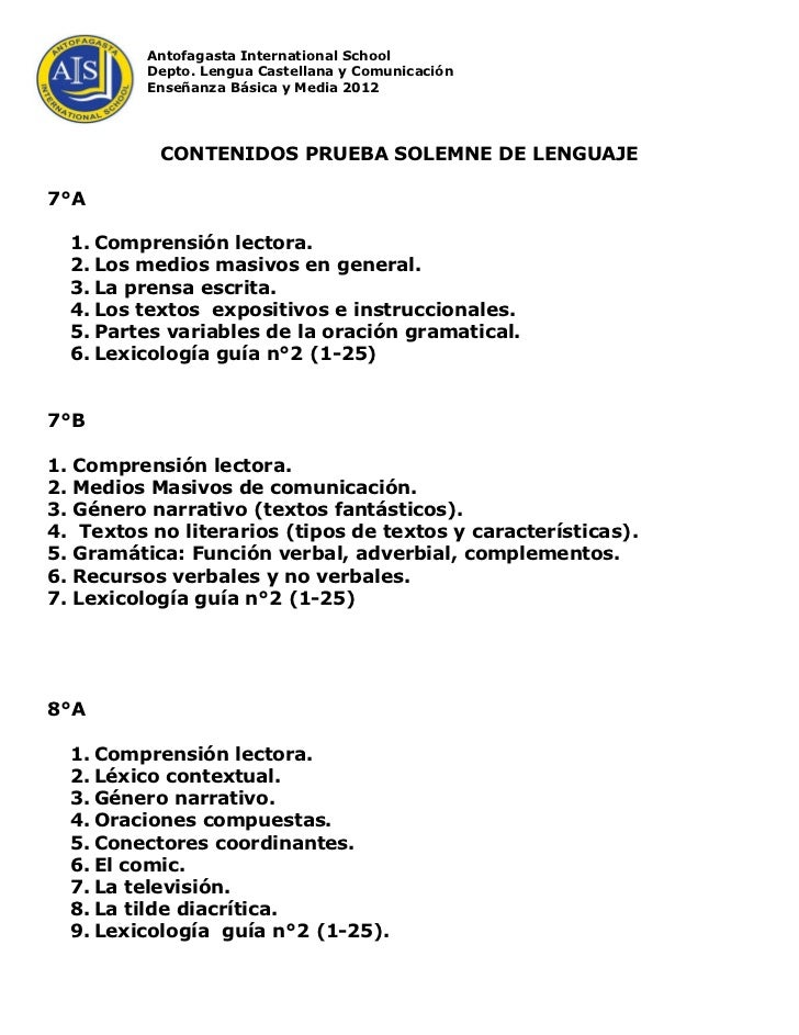 Antofagasta International School            Depto. Lengua Castellana y Comunicación            Enseñanza Básica y Media 20...