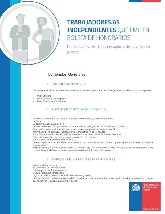 Contenidos Generales 1. SISTEMAS DE PENSIONES Los tres pilares del Sistema de Pensiones fundamentales y sus característica...