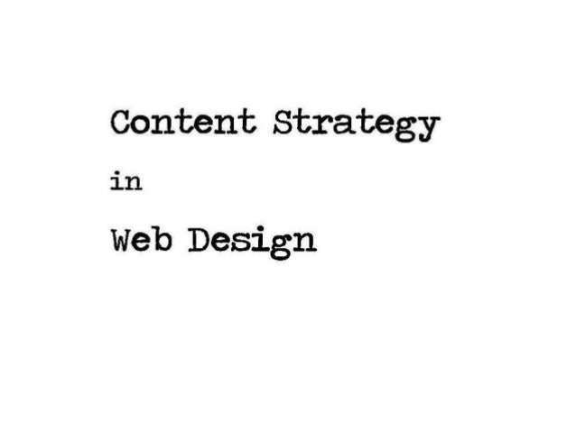 Content Strategy in Web Design - A Practitioners View