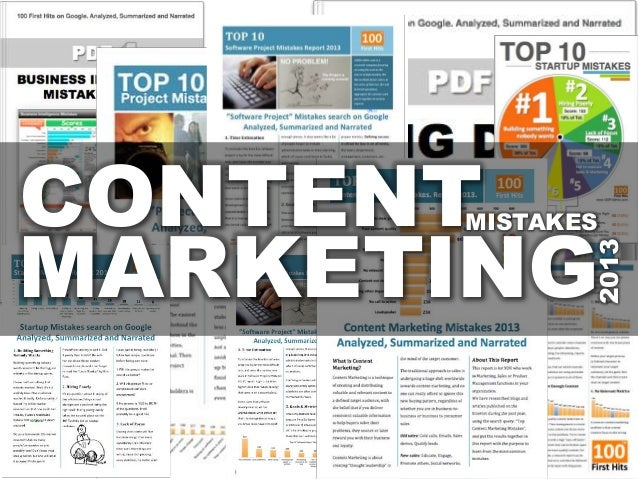 Content Marketing Mistakes - Report 2013