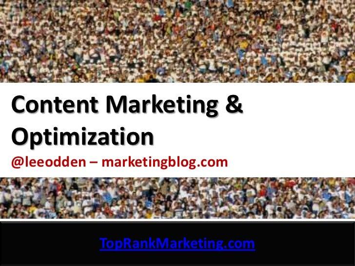 Content Marketing Optimization - TopRank Marketing