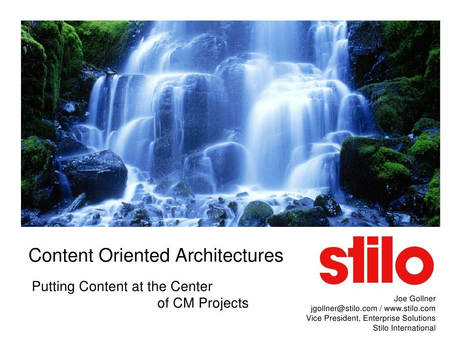 Content Oriented Architectures Putting Content at the Center                                                              ...