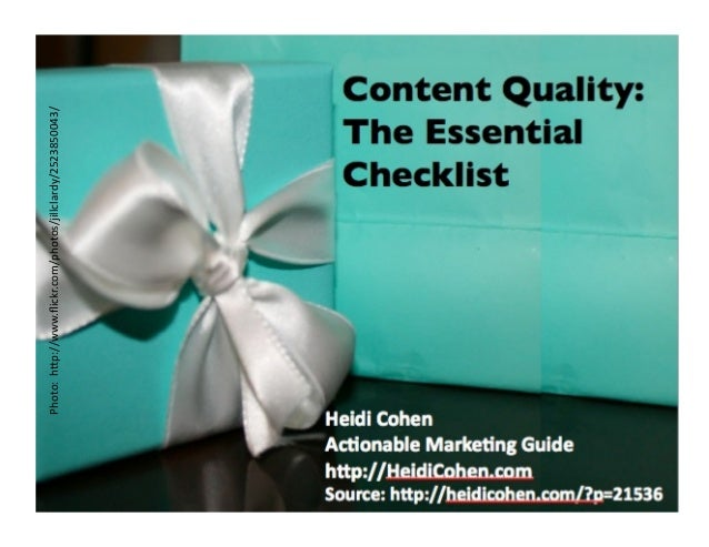 Content Quality Checklist By Heidi Cohen of Actionable Marketing Guide